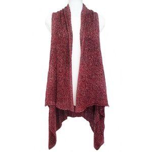 Accessories - Sweater Vest Cardigan. Burgundy Blend Tweed Knit